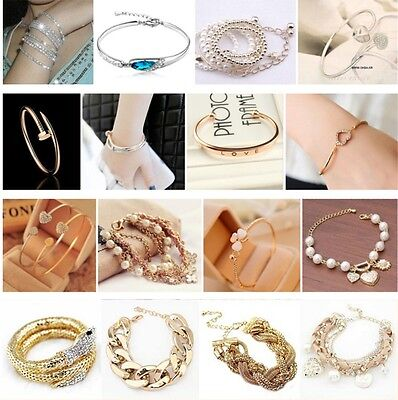 New Fashion Women Lots Style Gold Rhinestone Bangle Charm Cuff Bracelet Jewelry