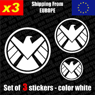 Set of 3 Agents of SHIELD Logo Vinyl Sticker Decal Aufkleber Die-Cut Car