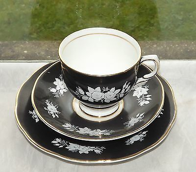 Salisbury Fine Bone China Black and White Rose Trio Cup Saucer Plate c1950s