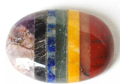 Reiki Energy Charged 7 Chakra Crystal Palm Stone Cabochon Worry Stone Natural