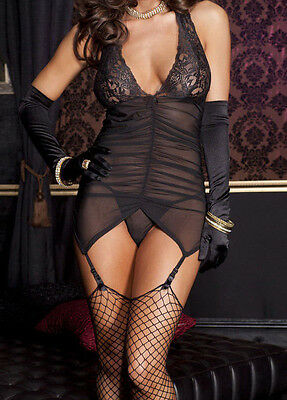 Tenue 40 42 Hot Lingerie Sexy Nuisette Jarretelles Donna Vestito Woman Underwear