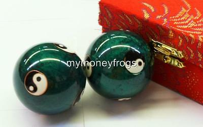 GREEN Chinese Oriental Asian Ying Yang Stress Exercise Massage w/Chime Balls