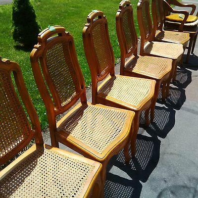 Beautiful ANTIQUE French cane dining chairs - set of 6