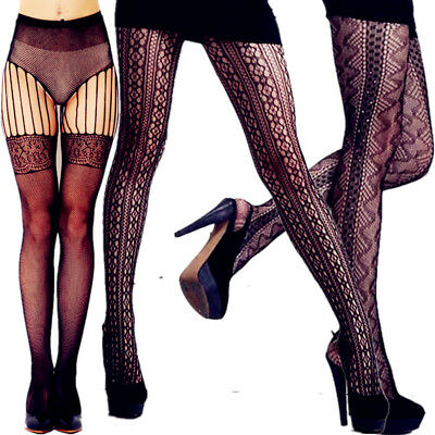 Plus Size Sheer Pantyhose Nylon Hold Up New Lace Socks Tights Women Stockings