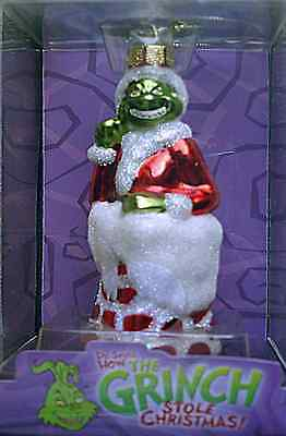 """Dr Seuss The Grinch In Chimney Blown Glass New Ornament 5"""""""