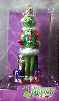 """* Grinch With Present * Dr Seuss Blown Glass New Ornament 5"""""""