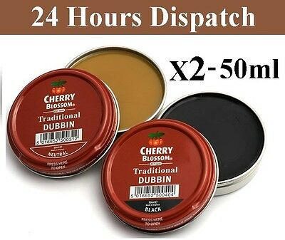Cherry Blossom Dubbin Nautral Black Tin Waterproofs Leather Shoes & Boots Wax x2