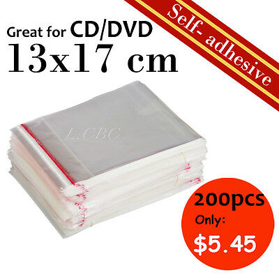 200Pcs New Self-Adhesive Cellophane Clear Resealable Plastic Bag 13x17cm CD Size