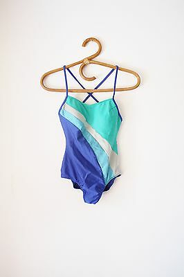 70s one piece swimsuit, Blue vintage bathing suit, XS Small