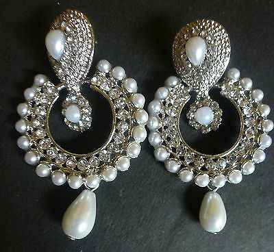 Vintage Antique Silver Plated Pearl Round Drop Indian Jhumka Earrings Bridal Set