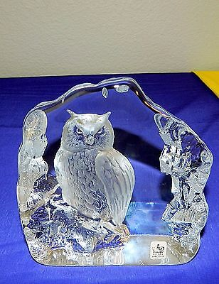 Mats Jonasson 33166 Royal Krona ART GLASS OWL SCULPTURE 33166 PAPERWEIGHT SIGN