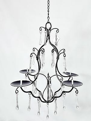 Black 4 Candle Chandelier, SA05, Hanging Chandelier with Jewels