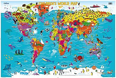 Collins Children's World Map Book By Maps English Poster 1 Pages Atlase New