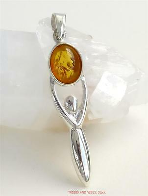 GODDESS Pendant 925 Sterling Silver Amber gemstone pagan wicca Jewellery 46mm