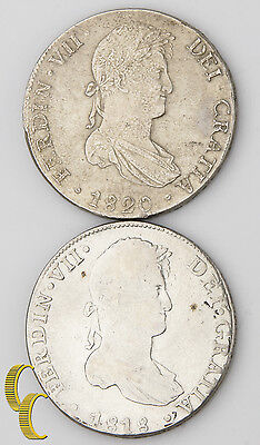 1818-JP & 1820-JP Peru 8 Reales 2 Silver Coin Lot KM#117.1 Gift!