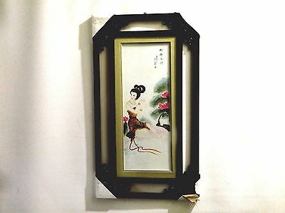 Fine Chinese Art Portrait Orig Water Color Painting/ Ornate Carved Glass Framed