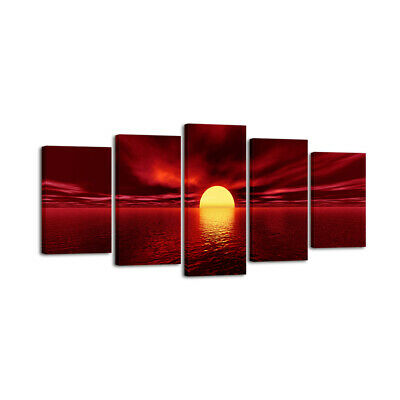 Canvas Wall Art Prints Home Decor Painting Picture Sunrise Landscape Red Framed