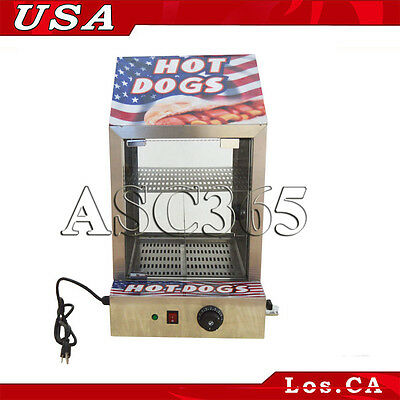 US FREE SHIPPING 110V Commercial Hot Dog Food Warmer Steel Cabinet