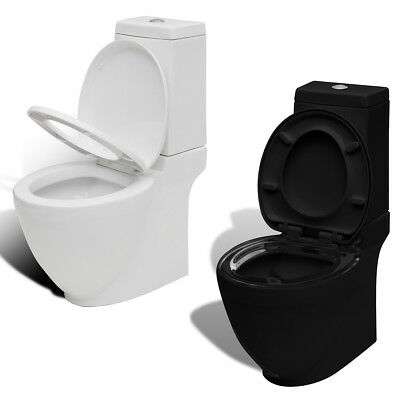 New Modern Bathroom Square Toilet Ceramic Soft Close Black/White Selectable