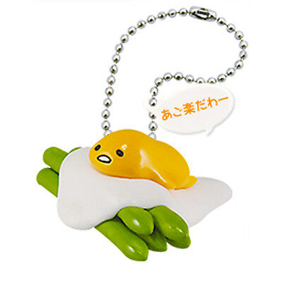 Gudetama Food Mascot Egg Asparagus Figure Keychain Japan Kawaii Sanrio Rement