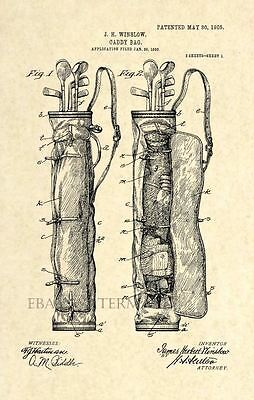 Official Golf Bag US Patent Art Print - Vintage Caddy Golf Club - Antique 110