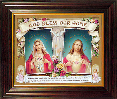 Sacred Heart Of Jesus God Bless Our Home Framed Picture - Statues Candles Listed