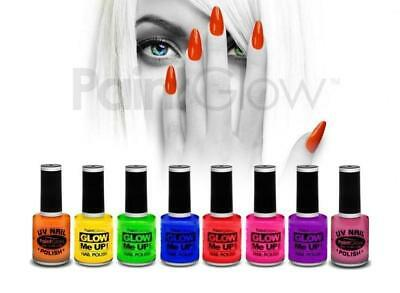 SET 8 COLORI SMALTO nail polish art FLUORESCENTI uv wood mani unghie make up