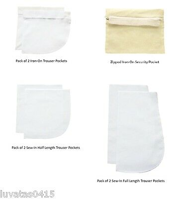 Replacement Trouser Pockets Full Length/Half Length/Iron-on/Security Pocket