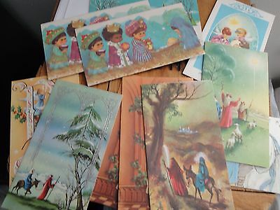 Lot Vtg Christmas Cards Unused Mid-Century Religious Greeting Jesus Bible Quotes