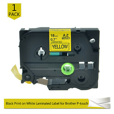 COMPATIBLE for Brother P-Touch PT300 330 TZe-641 label tape BLACK on YELLOW 3/4""