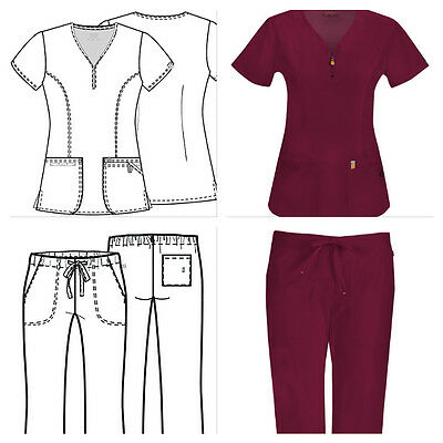 New Code Happy Medical Scrubs for Women Pant or Top Wine/Burgendy Sizes XXS-2XL