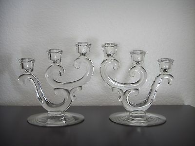 Antique Pair Art Nouveau Crystal Glass Three Light CANDELABRA Candle Holder Set