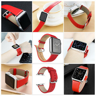 Genuine Leather Watch Band Strap Black Red Brown Replacement for iWatch 38 42 mm