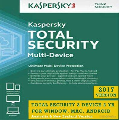 Latest Kaspersky Total Security, 3 Device 2 Yr -Win, MAC, Android - License Key