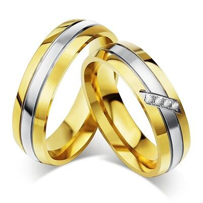 18k Gold Plated CZ Couple Rings Men/Women Stainless Steel Wedding Band Size 5-13
