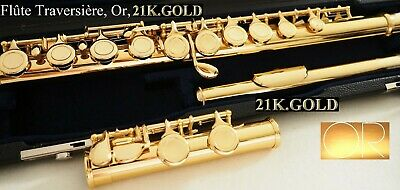 Querflöte Gold 24 ct 999 closed Flaps 24ct OR  closed holes Flute Flauta de oro