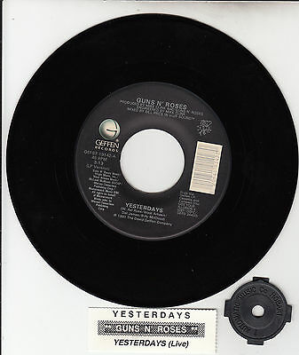 "GUNS N' ROSES  Yesterdays & Yesterdays (Live) 7"" 45 record + juke box strip RARE"