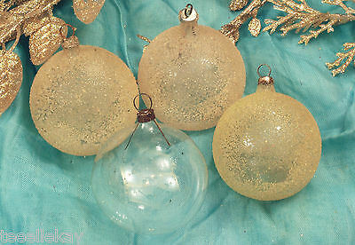 "4 Antique Vtg 2"" UNSILVERED CHRISTMAS ORNAMENTS 3 are SUGARED or VENETIAN DEW"