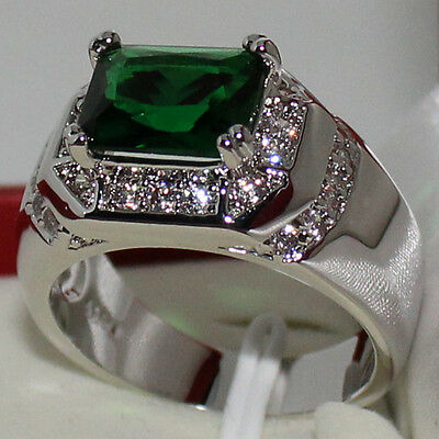 Mens Oblong Green Emerald CZ Around Stainless Steel St Eternal Statement Ring