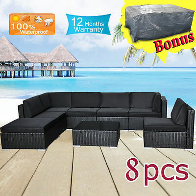 Wicker Rattan Garden Set Indoor Outdoor Sofa Lounge couch Setting Furniture 8Pcs