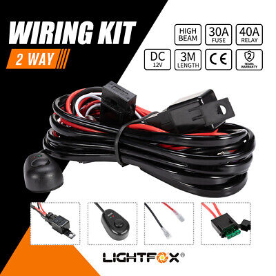 Led Hid Wiring Loom Harness Spot Work Driving Light Bar 12V 40A Relay 2 Way