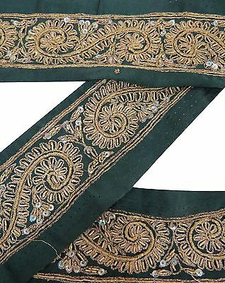 Vintage Sari Border Antique Hand Beaded Indian Trim Used Ribbon Green 1YD Lace
