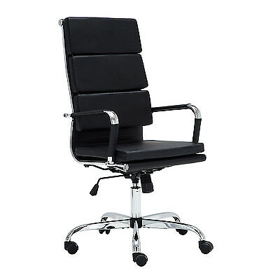 New Black High Back Office Chair PU Leather Adjustable Executive Computer Desk