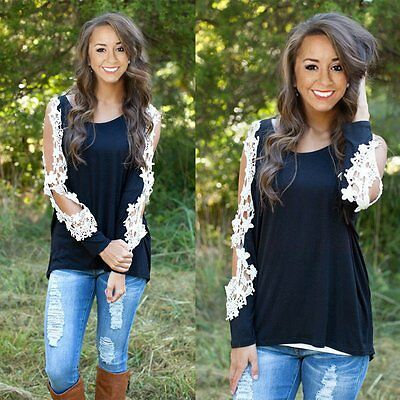 New Fashion Women Ladies Long Sleeve Shirt Loose Casual Lace Blouse Tops T Shirt