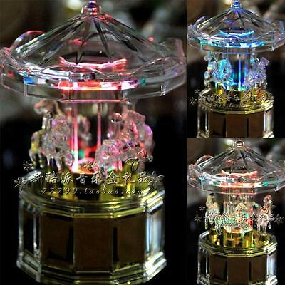 Led Transparent Merry-Go-Around Wind Up Music Box : Brahms Lullaby