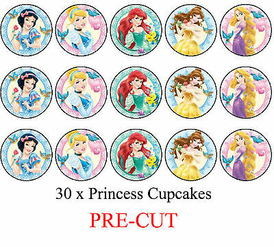 30 Princess Edible Cupcake Toppers Party Cake Decoration- PRE CUT
