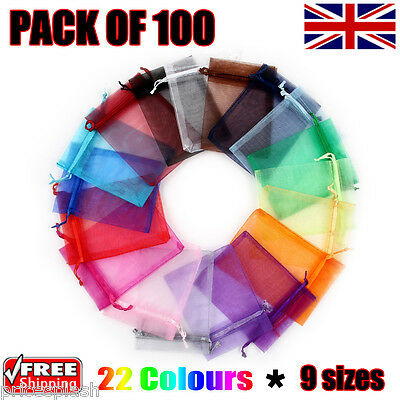 100 x Organza Gift Pouch Wedding Favour Bag Jewellery Pouch 23 Colours & 9 Sizes