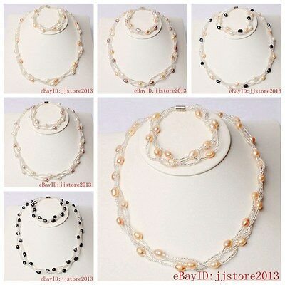 7-8mm Pretty 7 Color Natural Freshwater Pearl Necklace Bracelets Jewelry 1 Sets