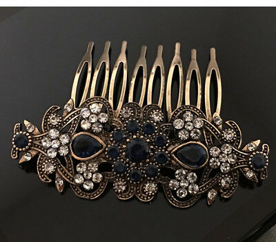 HOT Vintage antique Victorian flower multi color rhinestone hair comb 2000