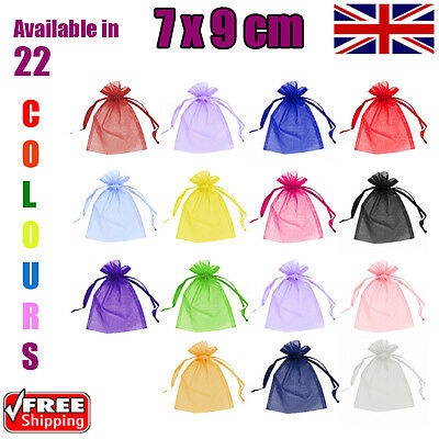 7 x 9 cm Organza Gift Pouch Wedding Favour Bags Jewellery Pouch in 23 Colours!